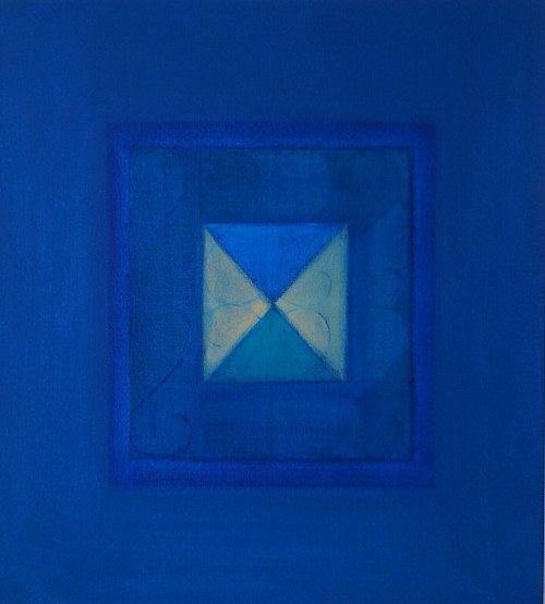 A geometric abstract painting featuring deep blue tones