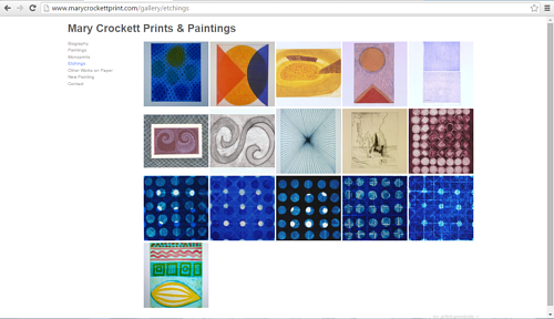 The gallery of etchings on Mary Crockett's art website