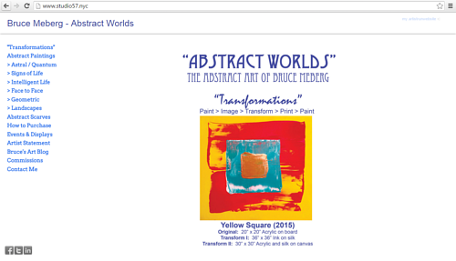 A screen capture of Bruce Meberg's art website