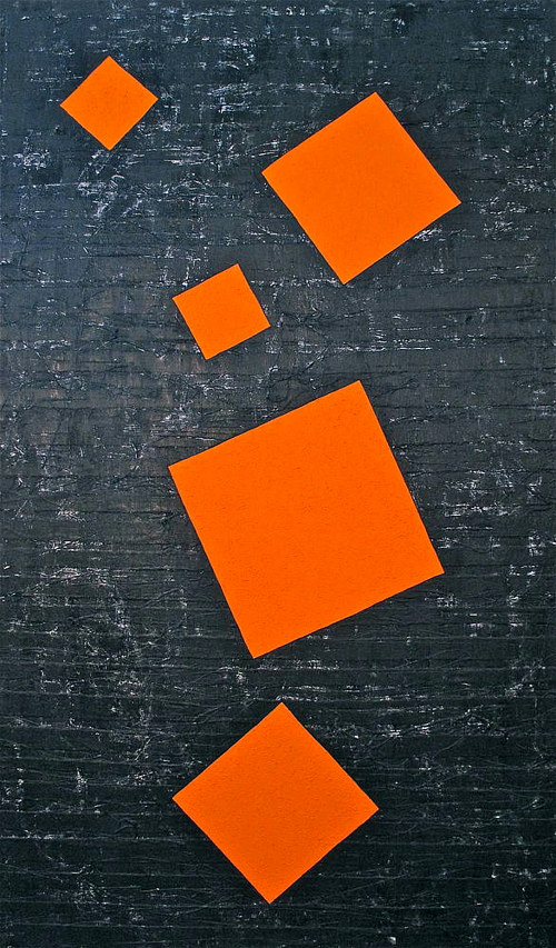 A painting comprised of several bright orange squares on a dark textured background