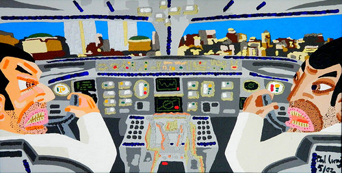 Painting of pilots in cockpit before hitting twin towers