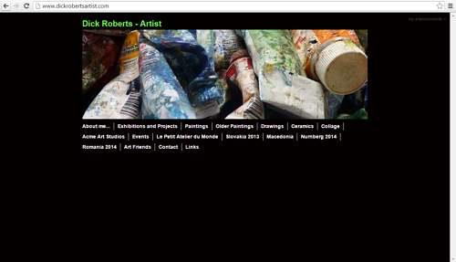 A screen capture of Dick Robert's art website