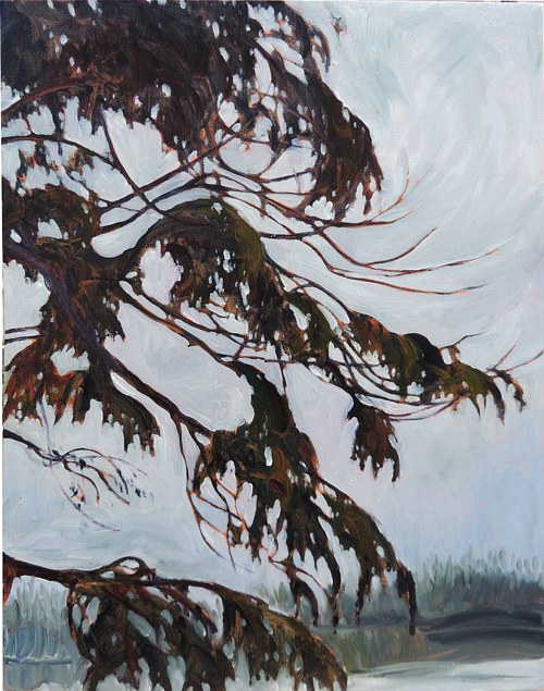 A painting of a hanging tree on a foggy evening