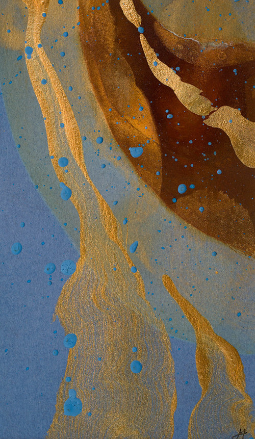 A small painting using rust  and gold metallic tones
