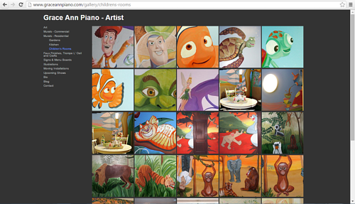 A screen capture of the children's murals on Grace Ann Piano's website