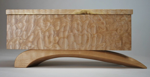 A jewelry box handmade from natural maple wood