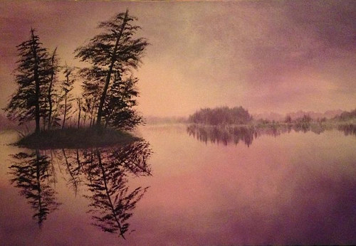 A painting of some trees in front of a still lake at twilight