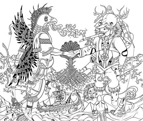 Fantasy drawing of many creators in black and white