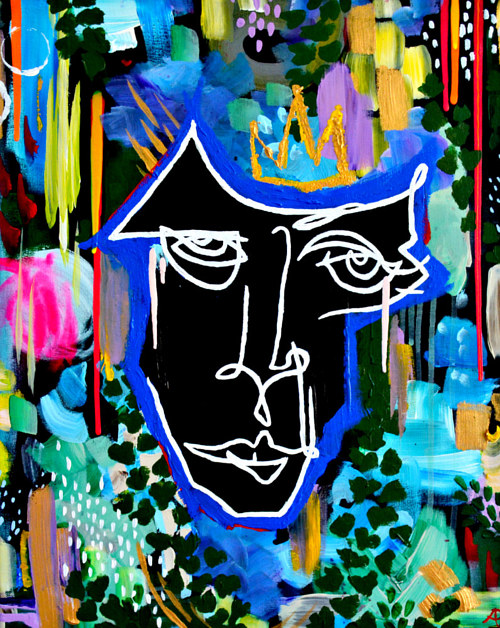 A painting featuring a brightly coloured line-art face