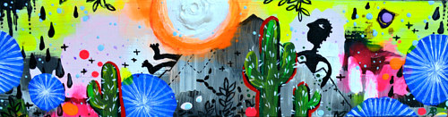 A long painting with abstracted cacti and scenery