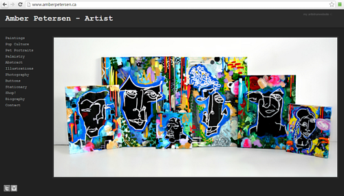 A screen capture of Amber Petersen's art website