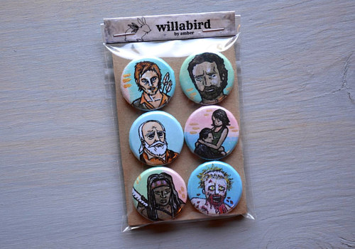 A set of hand-painted buttons of Walking Dead characters