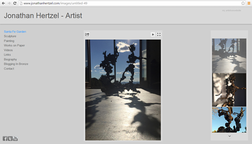 A screen capture of Jonathan Hertzel's art website