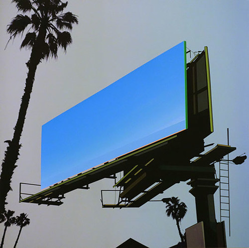 A painting of a simplified billboard and silhouetted trees