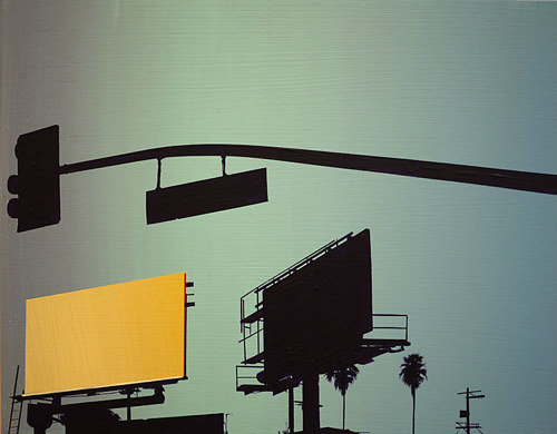 A painting of a yellow colour gradient billboard and a silhouette street light