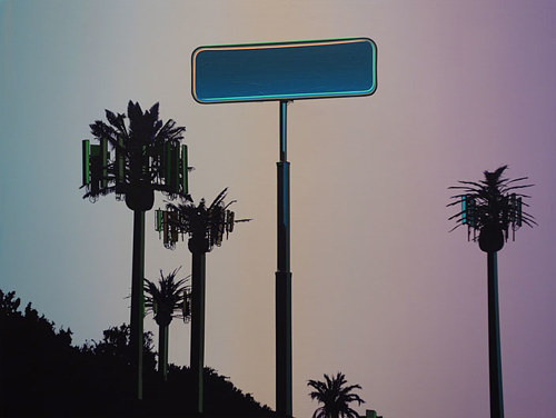 A painting of trees and a large sign silhouetted against a colour gradient