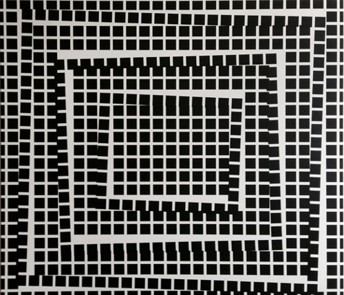 An optical painting with a shifted grid of black squares