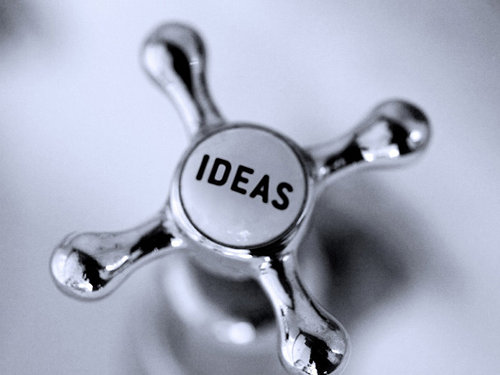 ideas written on a faucet