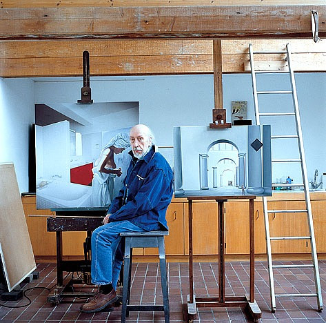 A photo of Richard Hamilton in his Oxfordshire studio