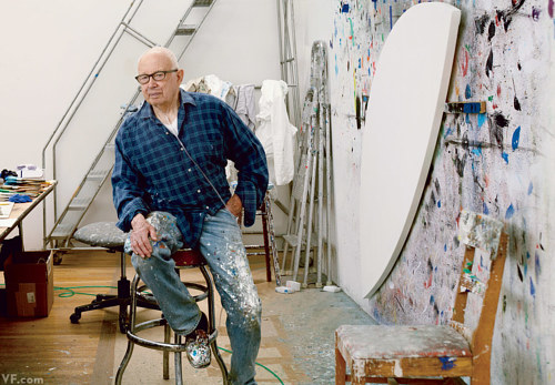 A photo of Ellsworth Kelly at work in his studio
