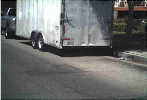 A photo of a trailer that was stolen while filled with expensive artworks