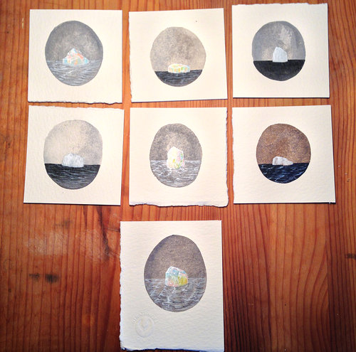 seven miniature iceberg paintings