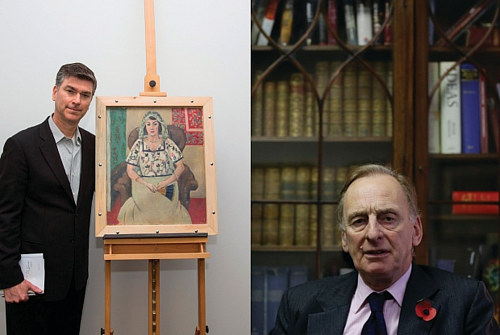 a photo of ARG head Chris Marinello beside a recovered Matisse painting