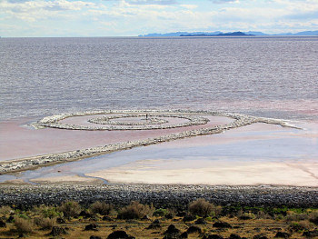 A photo of Robert Smithson's Spiral Jetty