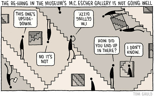 Re-hang in the museum's M.C. Escher Gallery is not going well