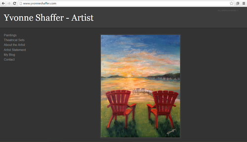 A screen capture of Yvonne Shaffer's art website
