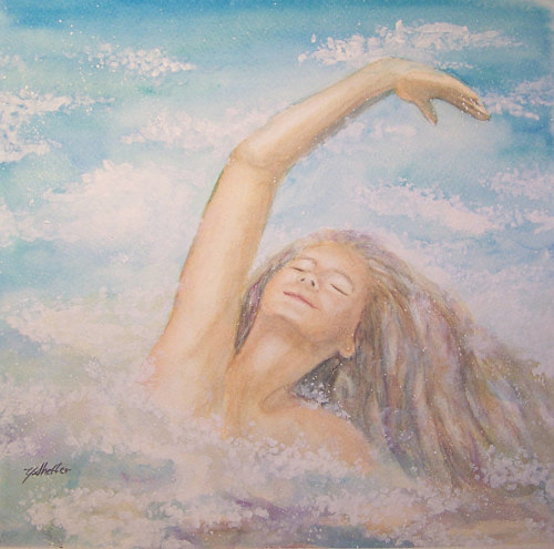 A painting of a woman dancing in the ocean