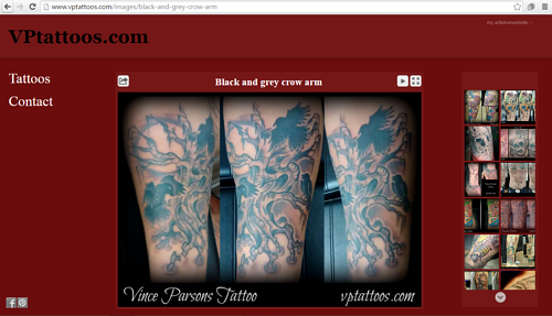 A screen capture of Vince Parsons' online tattoo gallery
