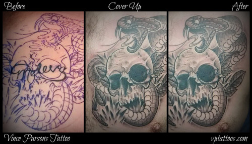 A progress photo series of a tattoo cover up