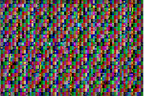 An image of a pixelated computer virus in the Malware Museum