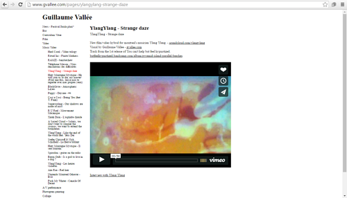 A screen capture of a gallery on Guillaume Vallee's art website