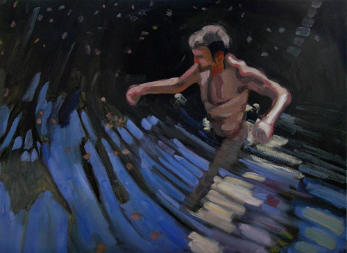 A loose painting of a man wading through waist-high water