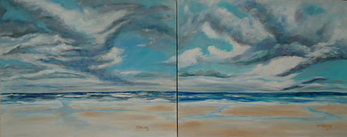 A diptych of paintings of clouds above Daytona Beach