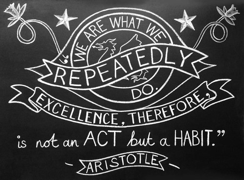 A chalk rendering of a quote by Aristotle