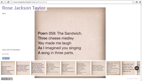 A screen capture of Rose Jackson Taylor's online poetry portfolio