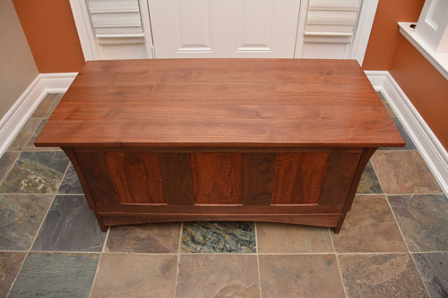 A photo of a walnut blanket box