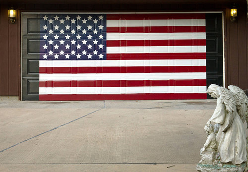 American flag painted on a garage door