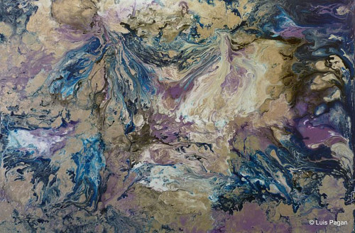 A pour painting composed of blue and beige tones