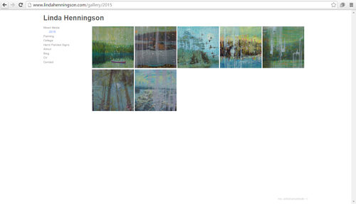 A screen capture of Linda Henningson's art website