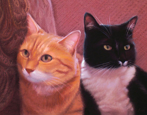A painting of two cats sitting on a sofa