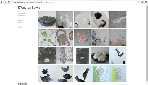 A screen capture of D'Andrea Bowie's art portfolio website