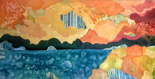 An abstract painting with the look of an orange beach scene