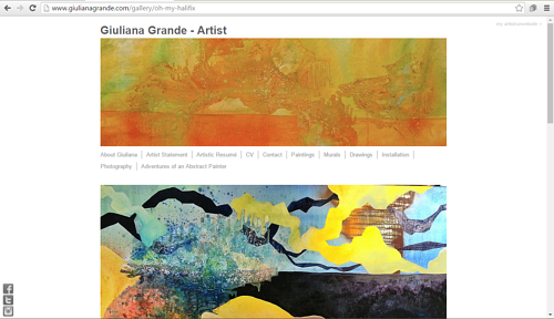 A screen capture of Giuliana Grande's painting website
