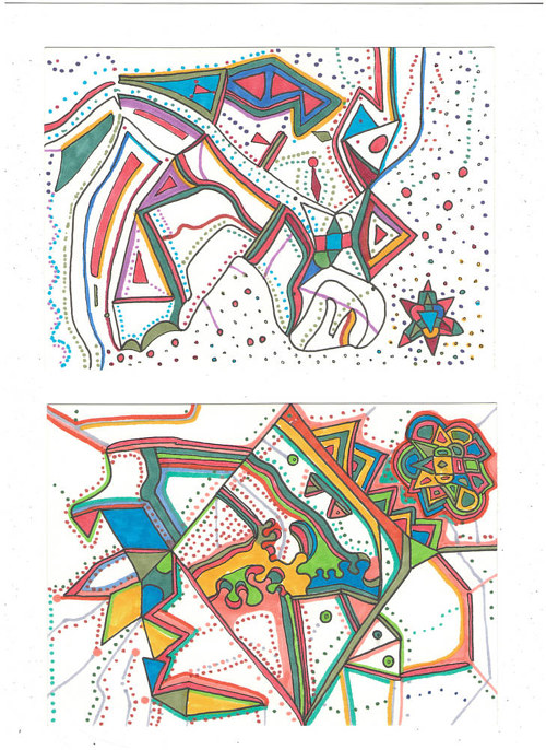 A set of two abstract drawings with black lines and pastel colours