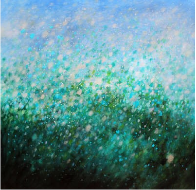 An abstract painting with many marks of blue and green