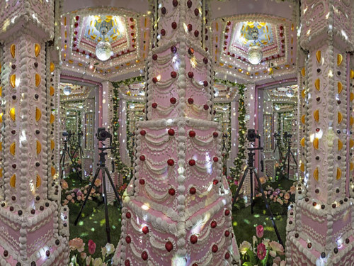 An installation by Scott Hove with a room covered in cake